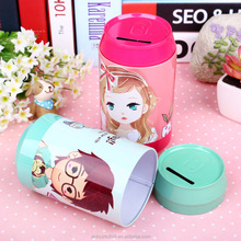 Kids printed cartoon money saving round tin can