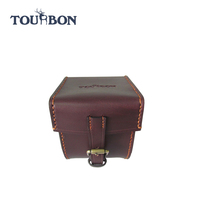 TOURBON 2016 Best Selling Brown Genuine leather fly fishing reel case