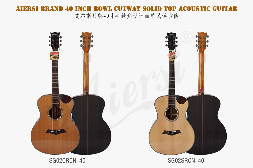 Aiersi Brand Hot Sale 40 Size OM/OOO Style Solid Top Acoustic Steel String Guitar(SG02ARCN)