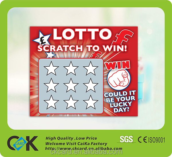 Custom lucky lottery game scratch tickets cards printing