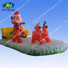 Inflatable santa claus driving fire truck with deer static for christmas decoration