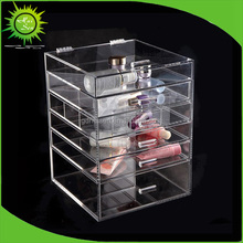 New 5 Drawers Clear Acrylic Makeup Packing Storage Box Clear Acrylic Display Cube