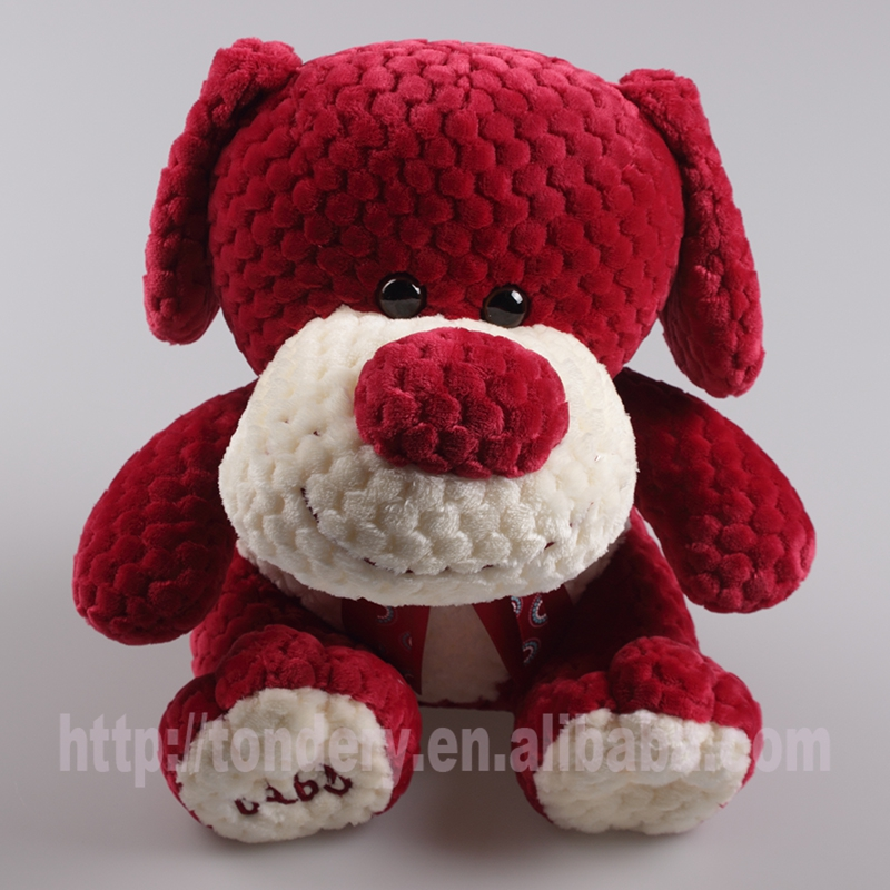 hotsale red embossed soft animal plush dog toy for valentine's day
