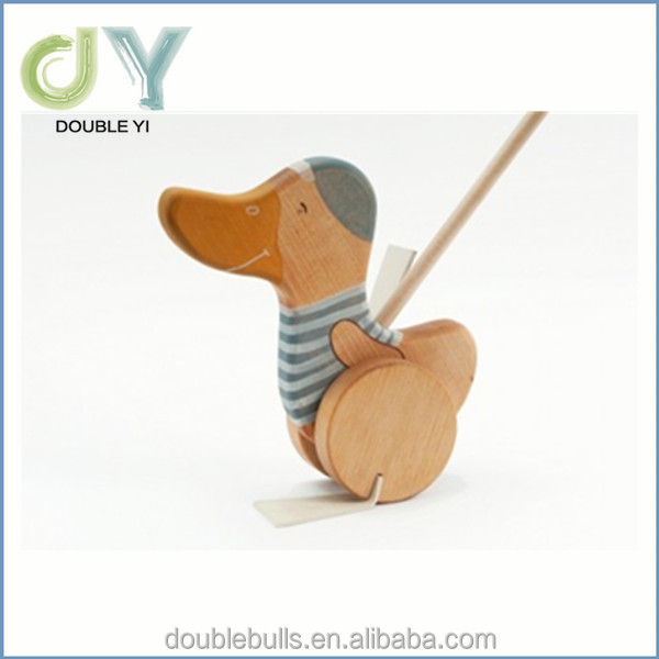 Custom promotional toy lovely baby gift moving wooden toy push along animal wooden toys for kids