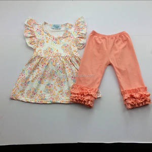 hot wholesale baby girls summer flower pattern flutter ruffle tops with solid pants girls boutique clothing sets