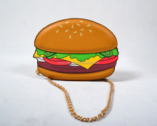 Hottest Cute Novelty Hamburger shape Clutch Purse Bag for Women shoulder messenger bags mini for girls with wholesale price