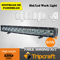 Top Quality!!! TC-6012A 60W single row LED WORING LIGHT Bar for pajero