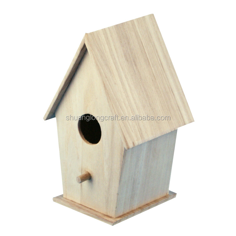 2016 new design small wood crafts bird house