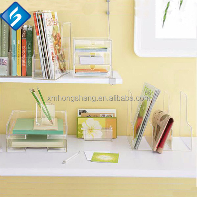 Transparent Acrylic 5 Compartment Office Desk File Tray / Acrylic Supplies Organizer