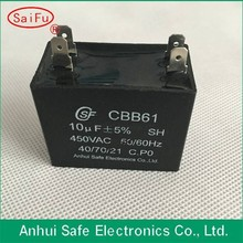 New arrival high quality black plastic Square cbb61 non polar electrolytic capacitor use for AC single-phase motors
