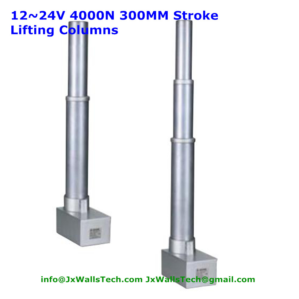 Electric height adjustable desk lifiting column with 3 bamboo type sections high speed 10mm per second
