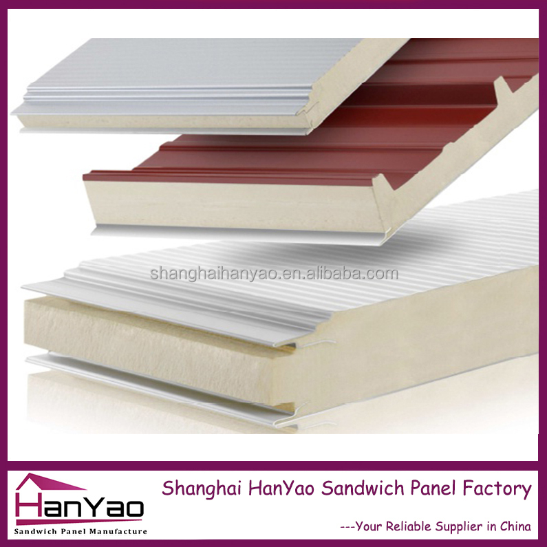 Long Life Prefab Used PU Insulated Exterior Sandwich Wall &Roof Panel