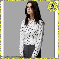 2015 Latest Dots Mature Office Long Shirts Trousers For Women
