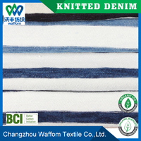 100%cotton slub stripe single jersey knit denim fabric designed for t-shirt