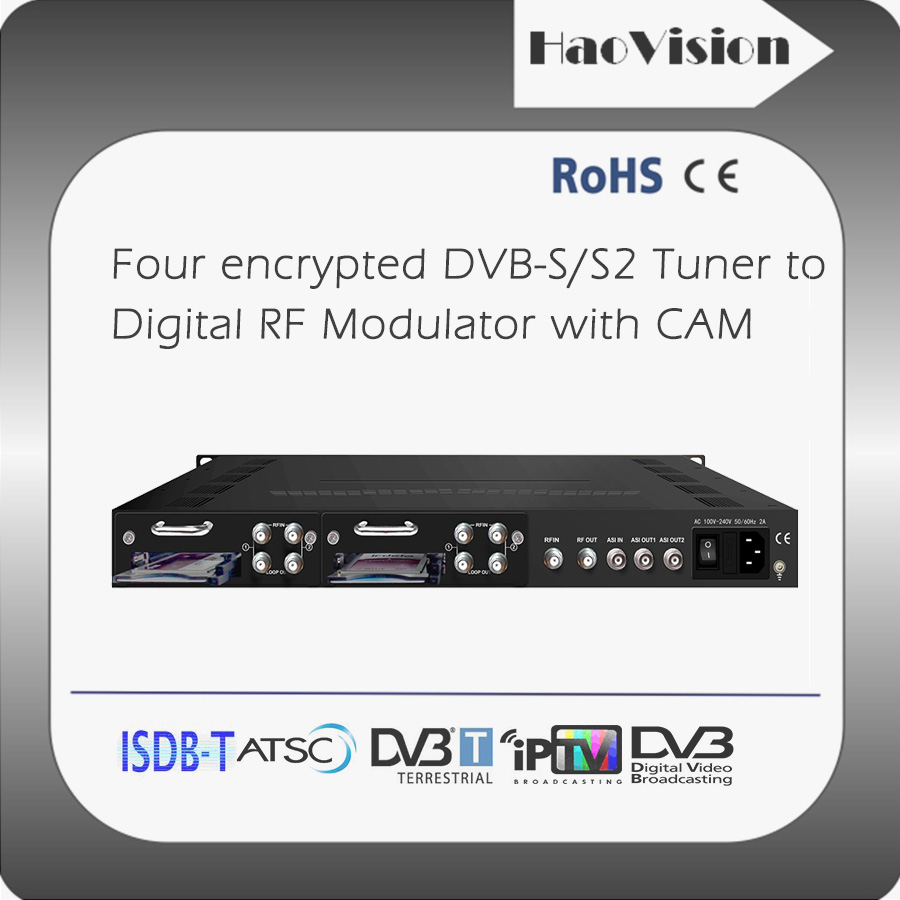 4 DVB-S2 Pay tuners with CI slot to DVB-T transmodulator