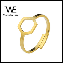 Adjustable Stainless Steel 2017 Women Jewelry Geometric Simple Stacking Hexagon Rings
