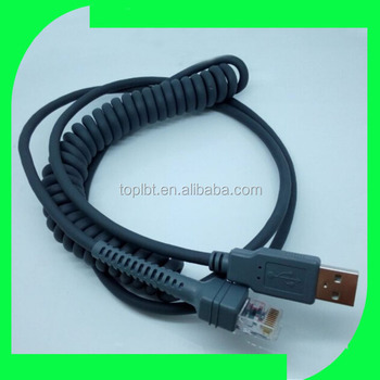 Symbol Barcode ls2208 Scanner Coiled Spiral Cable USB to rj50 10P10C