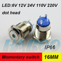 anti-vandal metal switch with led dia.16mm dot head lighing momentary push button switch waterproof IP66