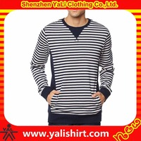 New model professional cheap slim fit cotton/polyester pullover striped contrast color crewneck mens jumpers