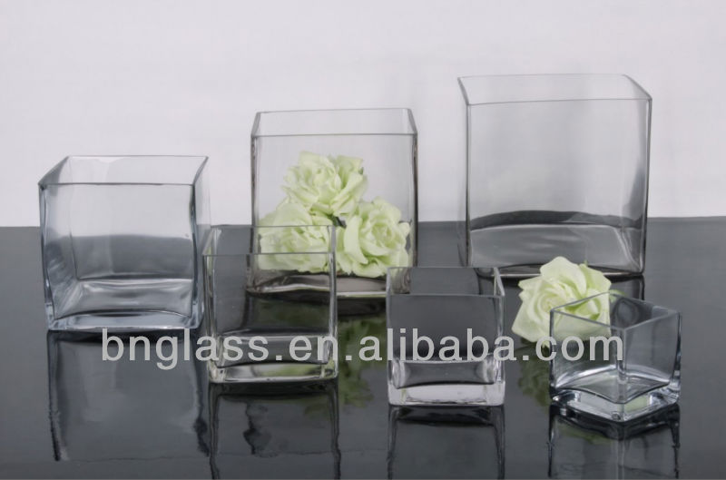 Wholesale clear cube glass vase for home decor weddingdecor