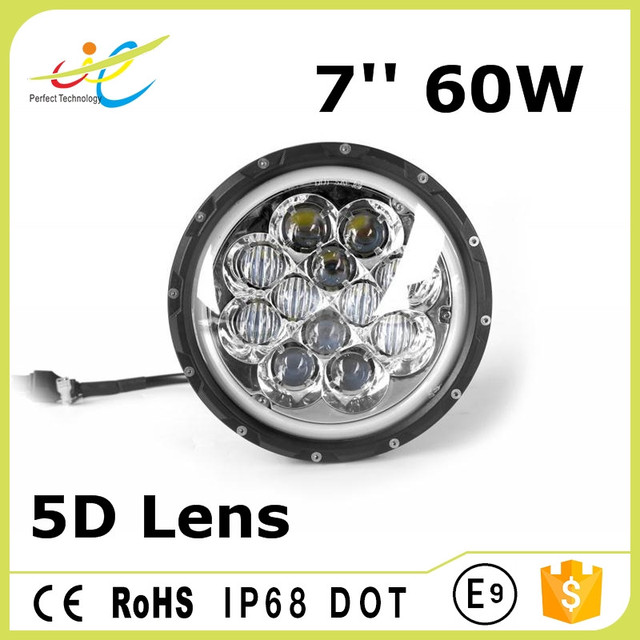 Waterproof 60w 7'' round high power angel eyes led headlamp with high low beam pattern