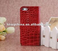 For iphone5 Alligator Crocodile Leather Case for iPhone 5s 5G with Stand Function and Credit Card Slot