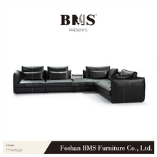 Full aniline leather corner sectional latex seating superb sofa set