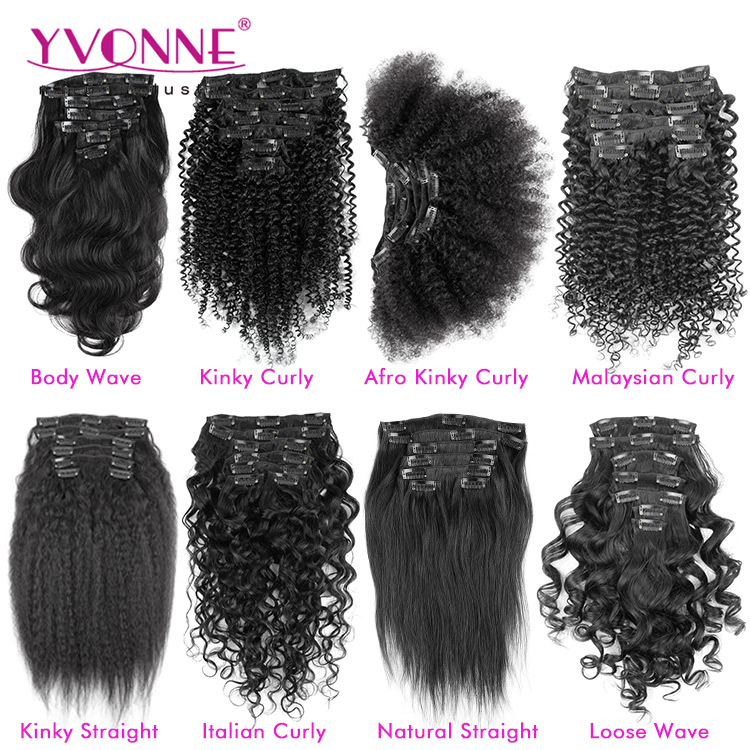 Wholesale Virgin Hair Clip in Hair Extensions