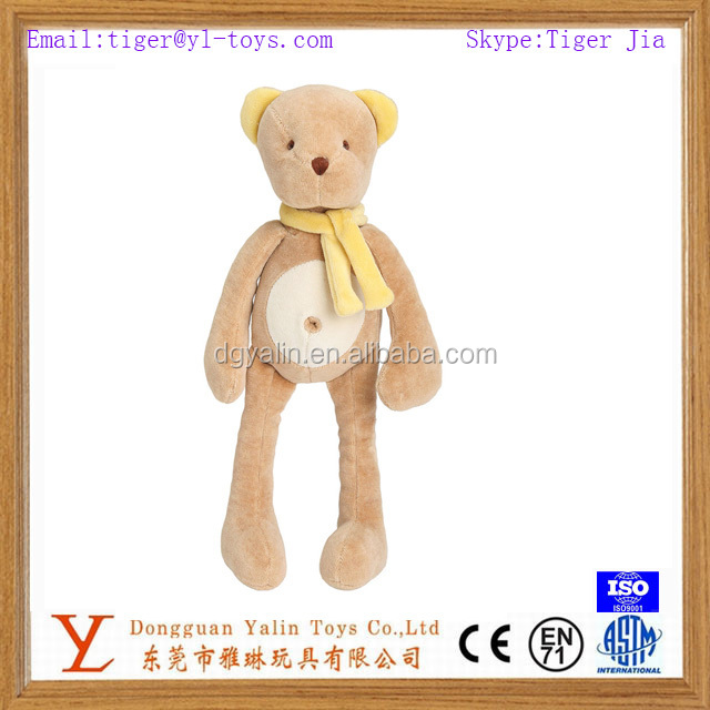 Wholesale plush cute teddy bear toy with long legs&scarf