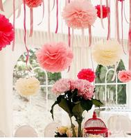 Handmade 3-20inches Tissue Paper flower Paper Flower Ball Pompom For Home Garden Wedding Birthday&Wedding Car Decoration