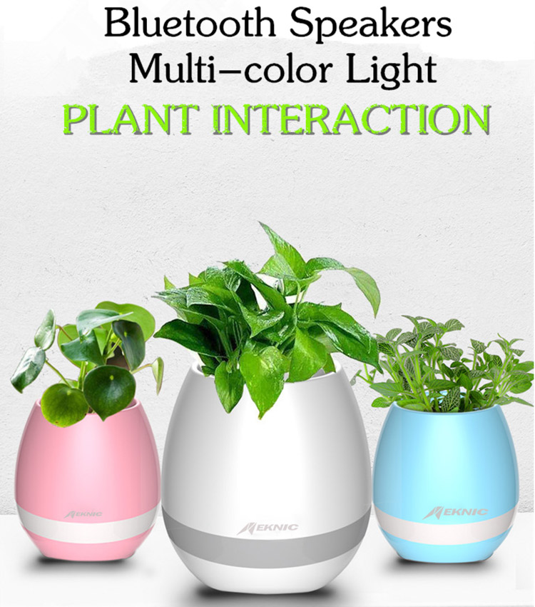 2017 foreign trade products plastic flower pot With Speaker & LED Lamp