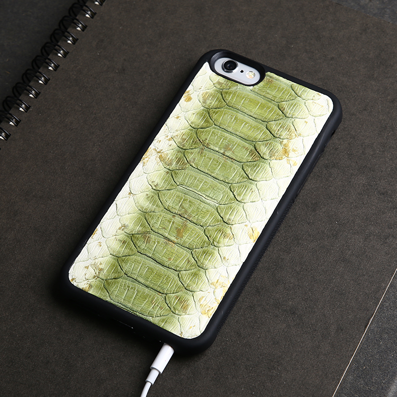 Green Python leather make leather cell phone case for iphone 5 SE , iphone 7 , iphone 7 plus