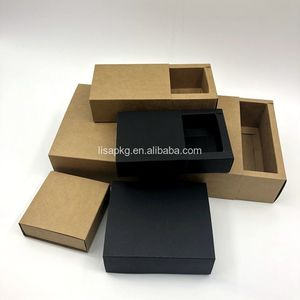 Custom Empty Foldable Packaging Food Biscuits Wig Drawer Kraft Paper Gift Box