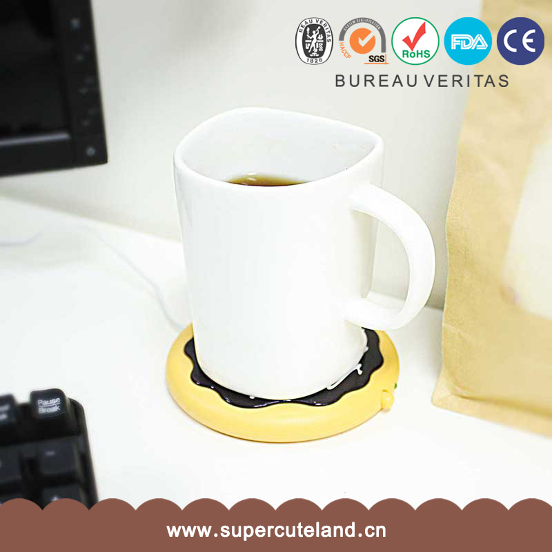 Powered heated coffee driking USB warmer coaster