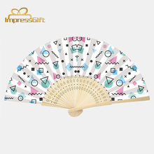 Fancy chinese bamboo customized hand held folding fan