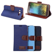Jeans wallet PU leather case for Samsung Galaxy E5,for Samsung E5 case