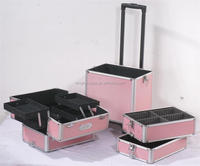 Aluminum artist makeup case, professional rolling beauty case, trolley cosmetic box