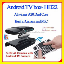 2017High Quality Smart Home A20 5.0MP Camera Android TV Box HD23 cs968 tv box IPTV Service Android smart TV Set Top box