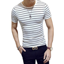 2018 New Fashion O-Neck Short Sleeve Slim Fit Black And White Plus Size Striped T-Shirt