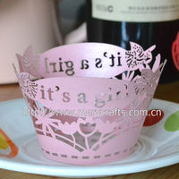 Unique gifts for baby party decoration laser cut purple pearl paper