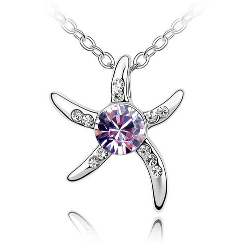 np0018 yiwu cheap starfish Austrian crystal necklace Fancy wedding costume <strong>jewelry</strong>