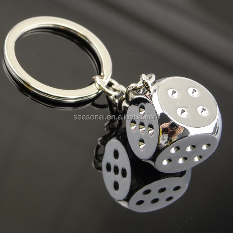 free shipping Wholesale stock and OEM zinc alloy dice Keychain for promotional