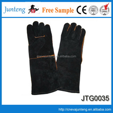 Cowhide leather hand job gloves with pvc dots