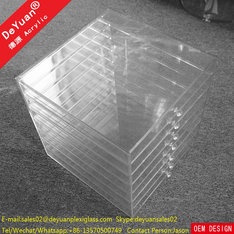 Tabletop Acrylic Makeup Organizer With Drawers For Comestic Jar