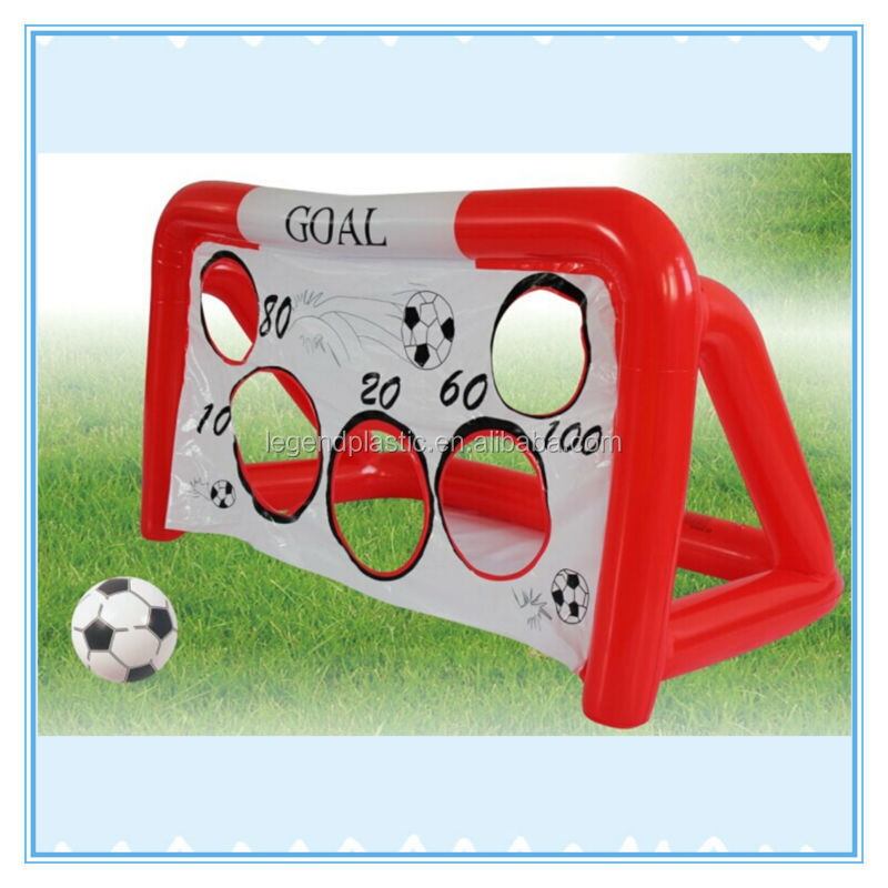 Soccer goal with shooting target, pvc inflatable 2 in 1 goal set for sale