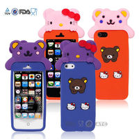 Kitty design colorful silicone mobile phone cover for iphone 5
