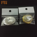 Flat back small rhinestone initial gold brooches