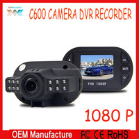 2015 newest Mini Size black box Full HD 1920*1080 1080P 12 IR LED Vehicle CAM Video Camera C600 Recorder Car real time DVR