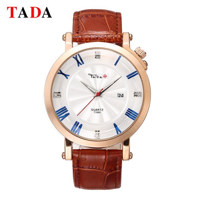Genuine TADA quartz male watches Genuine Leather watches racing men Students game Run Chronograph Genuine Leather watches
