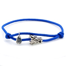 Cheap ribbon dragon Jewelry stainless Braided Nylon Cord Bracelets For men and women gift wholesale DIY customize